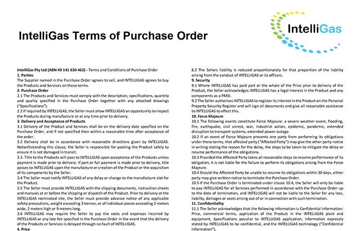 IntelliGas Terms of Purchase Order Thumbnail