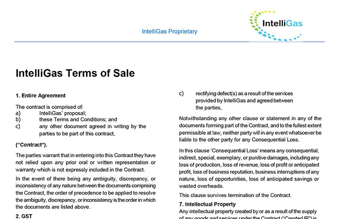 IntelliGas Terms of Sale Thumbnail